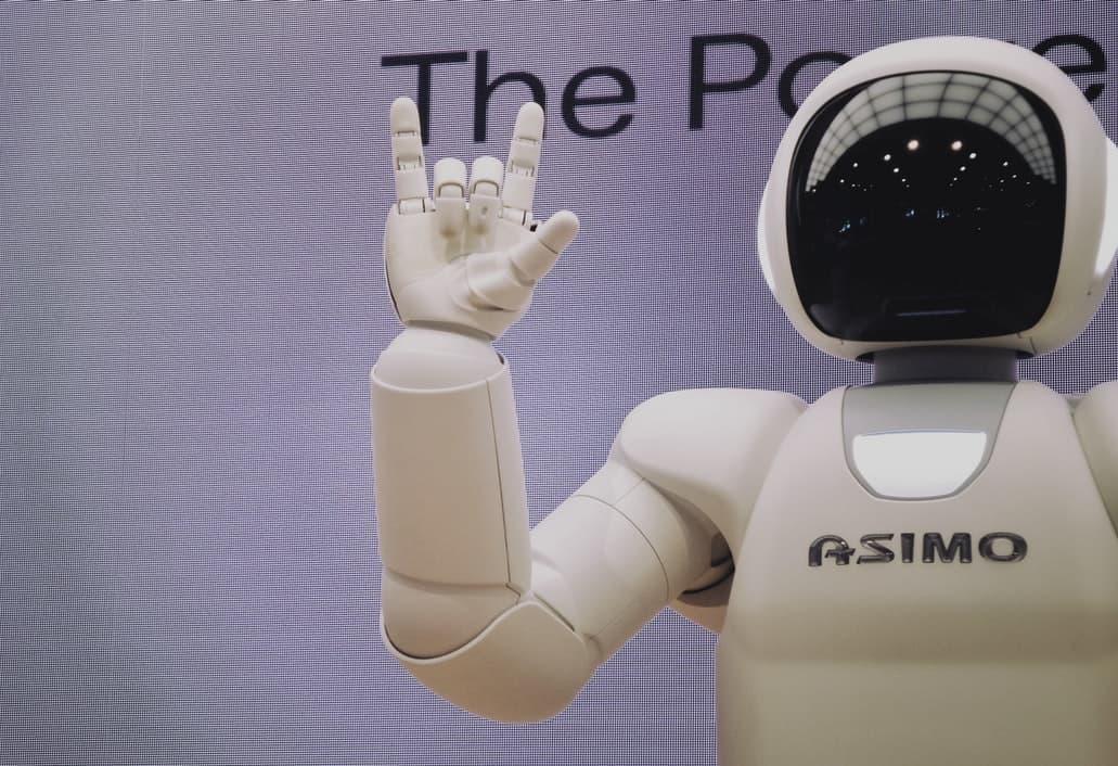 Robot making a hand gesture