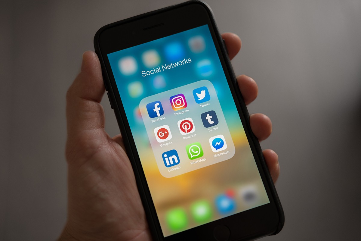 social media icons on a mobile phone