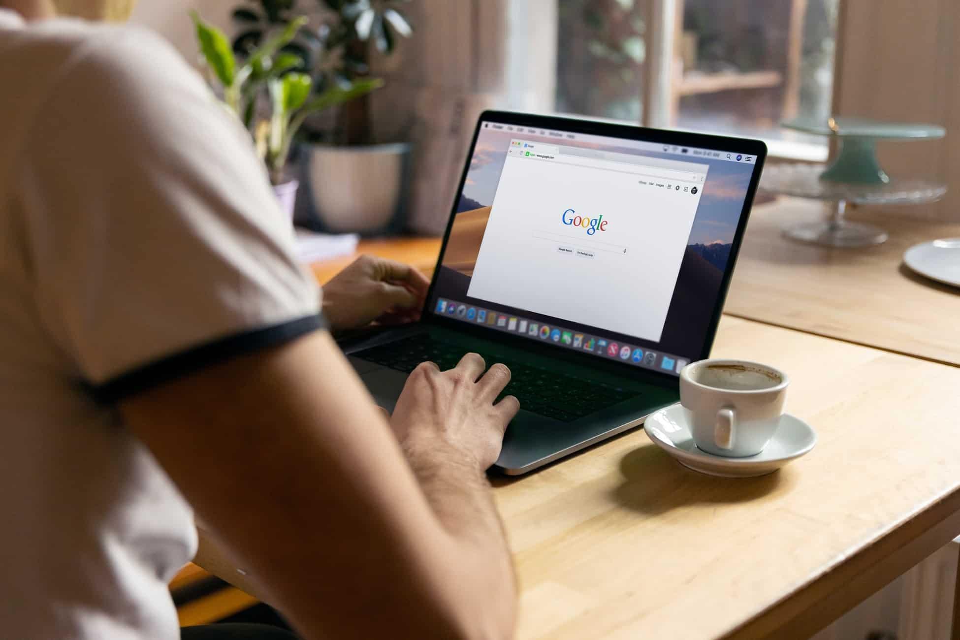 Person using Google search.